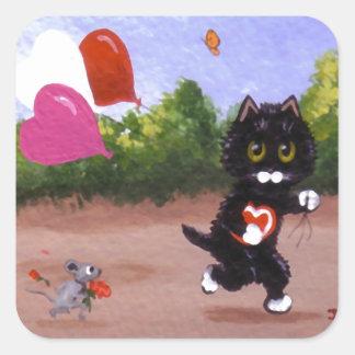 Lustige Valentinsgruß-Katze und Maus Creationarts Quadratischer Aufkleber