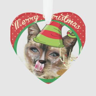 Lustige Verzierung siamesische Katze des Herzens I Ornament