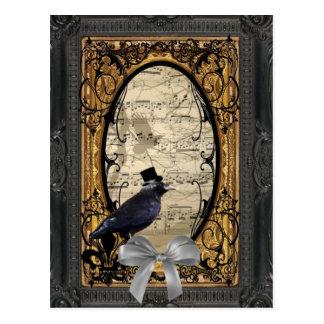 Lustige Vintage gotische Hochzeitskrähe Postkarte