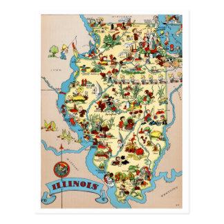 Lustige Vintage Karte Illinois