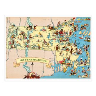 Lustige Vintage Karte Massachusetts