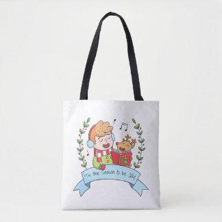 Lustige Weihnachtscaroljungen-und Tasche