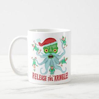 Lustige Weihnachtsfreigabe der Kringle Kaffeetasse