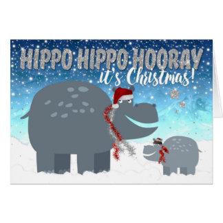 Lustige Weihnachtskarte - glückliche Flusspferde Karte