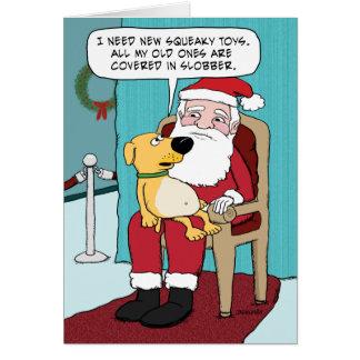 Lustige Weihnachtskarte: Hund und Sankt Grußkarte