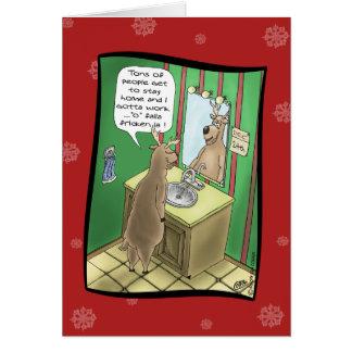 Lustige Weihnachtskarten: Arbeitsweihnachtsabend Grußkarte