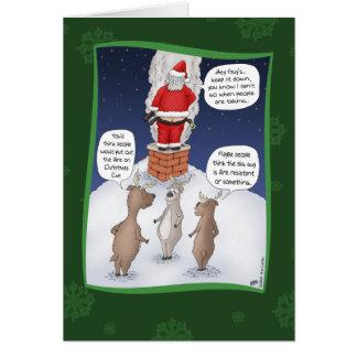 Lustige Weihnachtskarten: Setzen Sie das Feuer Grußkarte