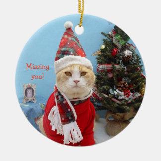 """Lustige Weihnachtskatze """"vermisst Sie! """" Keramik Ornament"""