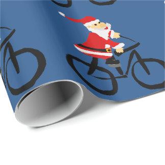 Lustige Weihnachtsmann-Reitfahrrad-Weihnachtskunst Geschenkpapier