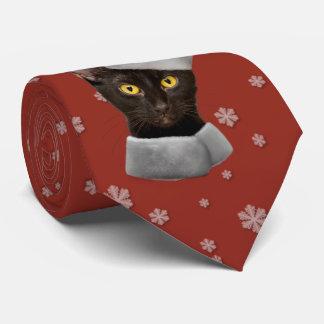 Lustige Weihnachtsschwarz-Sankt-Katze Krawatte