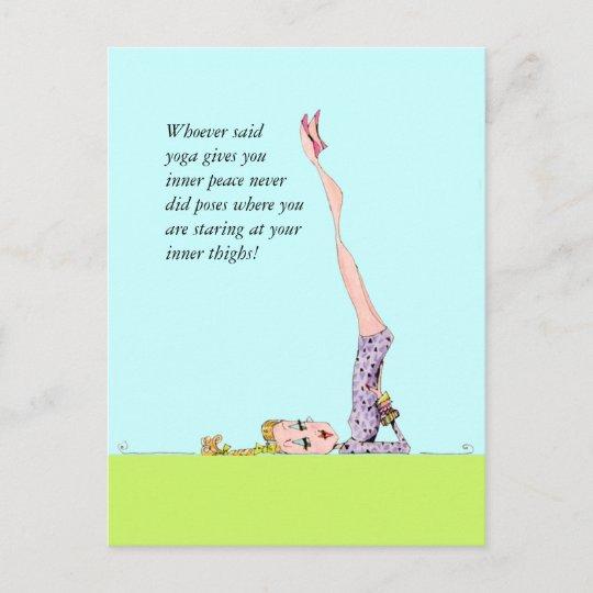 Lustige Yogapostkarte Mit Lustigem Yoga Spass Ankundigungspostkarte