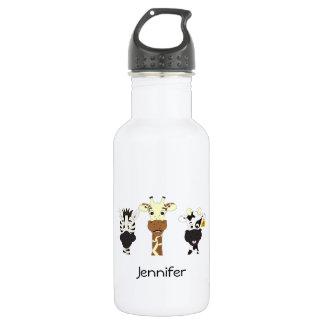 Lustige Zebragiraffenkuh-Cartoon-Namenkinder Edelstahlflasche