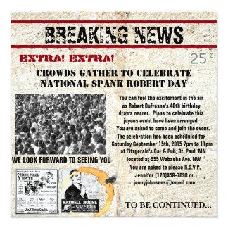Lustige Zeitungs-Geburtstags-Einladung Quadratische 13,3 Cm Einladungskarte