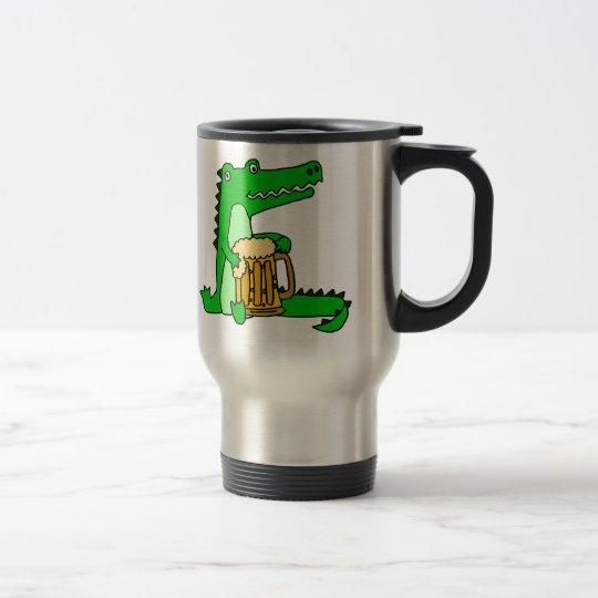 Lustiger Alligatortrinkender Bier-Cartoon Edelstahl Thermotasse