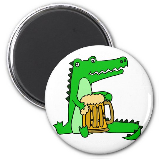 Lustiger Alligatortrinkender Bier-Cartoon Runder Magnet 5,1 Cm