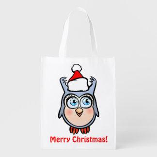 Lustiger Baby-Schrei mit Weihnachtshut Wiederverwendbare Einkaufstasche