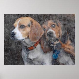 Lustiger Beagle-schmutzige Sturm-Tür Poster