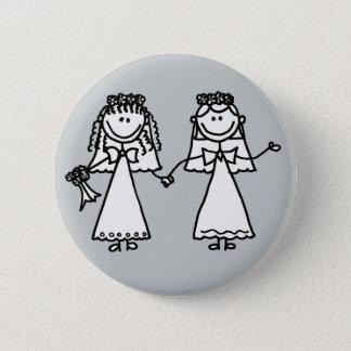 Lustiger Braut-homosexuelle Heirat-Cartoon Runder Button 5,7 Cm
