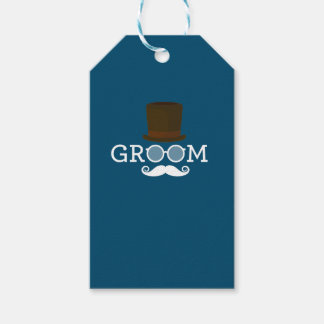 Lustiger Bräutigam-Schnurrbart u. Hut für das Geschenkanhänger