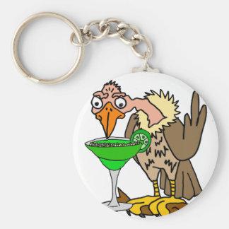 Lustiger Bussard oder Geier, die Margarita trinken Standard Runder Schlüsselanhänger
