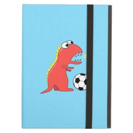 Lustiger Cartoon-Dinosaurier, der Fußball