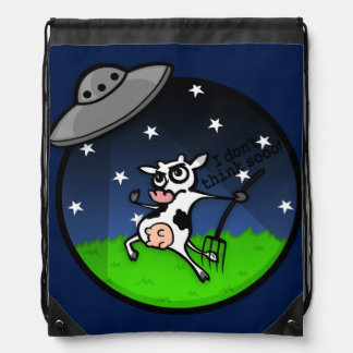 LUSTIGER CARTOON-KUH-UFO-ABDUKTIONS-RUCKSACK SPORTBEUTEL