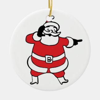 Lustiger Cartoon Weihnachtsmann, der sein Ren Keramik Ornament