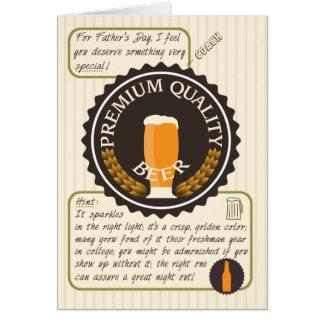 Lustiger der Vatertags-Retro Bier-Aufkleber für Grußkarte