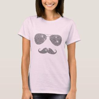 Lustiger Diamant-Schnurrbart mit Gläsern T-Shirt