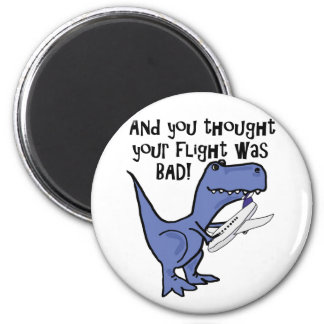 Lustiger Dinosaurier, der Flugzeug-Cartoon isst Runder Magnet 5,1 Cm