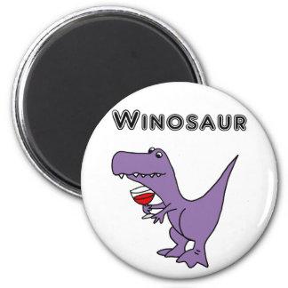 Lustiger Dinosaurier mit Wein ist ein Winosaur Runder Magnet 5,7 Cm