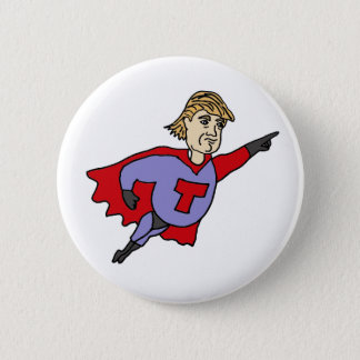Lustiger Donald Trumpsuperheld-Cartoon Runder Button 5,1 Cm
