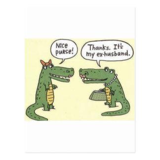 Lustiger ex Ehemann-Alligatorgeldbeutel Postkarten