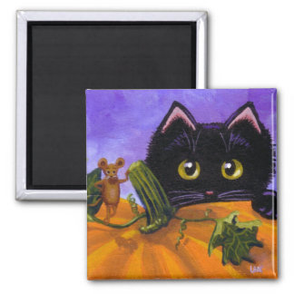 Lustiger Fall-schwarze Katzen-Mäusekürbis Quadratischer Magnet