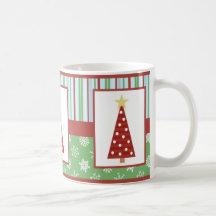 Lustiger Feiertags-rote Polka-Punkt-Baum-Weihnacht Tasse