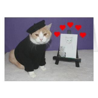 Lustiger französischer Katzen-Valentinsgruß Karte