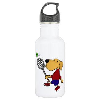 Lustiger gelber Labrador-Hund, der Tennis-Cartoon Edelstahlflasche