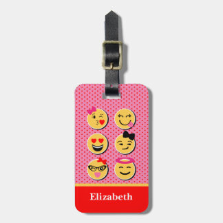 Lustiger Gepäckanhänger mit emoji Charakteren