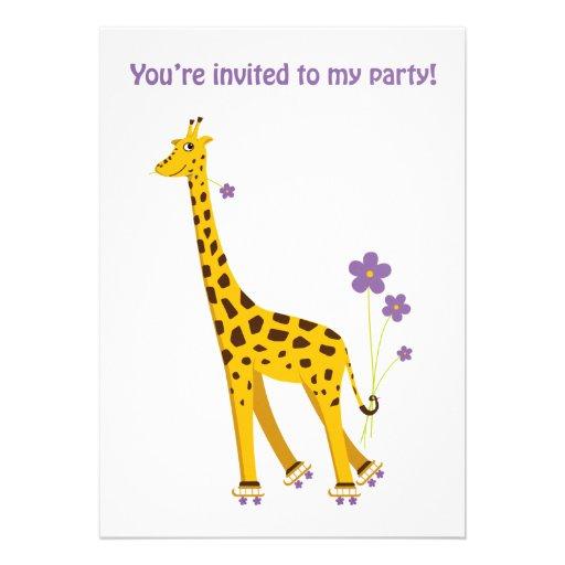 Lustiger GiraffeRollerskating Einladungskarten