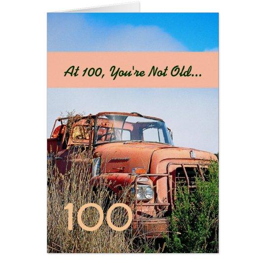 LUSTIGER glücklicher 100. Geburtstags-Vintager LKW Grußkarte