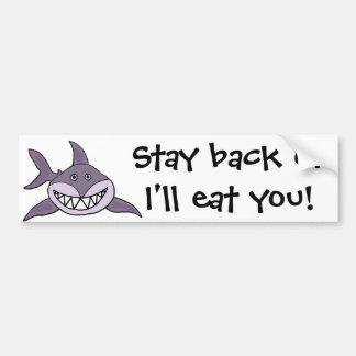 Lustiger grinsender grauer Haifisch-Cartoon Autoaufkleber