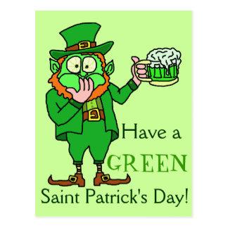 Lustiger grüner Kobold Heiliger Patrick Postkarte