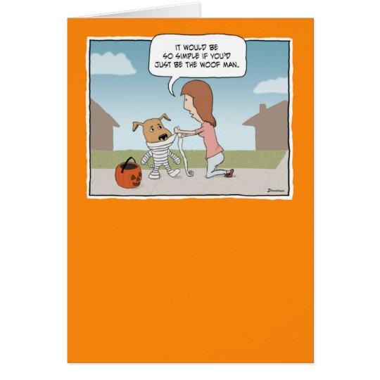 Lustiger Halloween-Schuss-Mann Grußkarte
