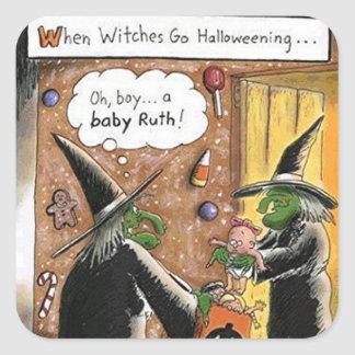 Lustiger Hexe-Trick oder Leckerei Halloweens Quadratischer Aufkleber