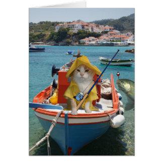 Lustiger Katzen-Geburtstag für Fischer Karte
