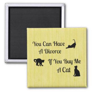 Lustiger Katzen-Scheidungs-Quadrat-Magnet Quadratischer Magnet