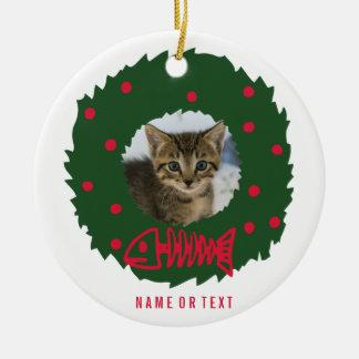 Lustiger Katzen-WeihnachtsWreath mit dem Foto Rundes Keramik Ornament