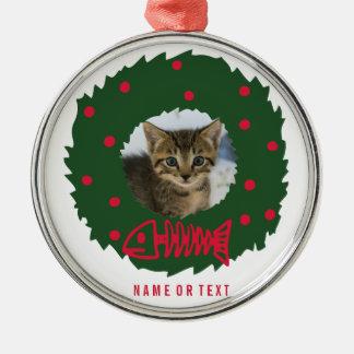Lustiger Katzen-WeihnachtsWreath mit dem Foto Rundes Silberfarbenes Ornament