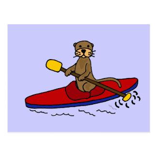 Lustiger Kayaking Otter Postkarte