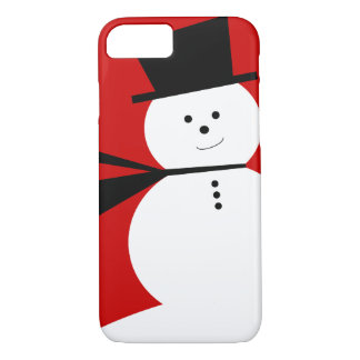 Lustiger kleiner Schneemann mit elegantem Zylinder iPhone 8/7 Hülle